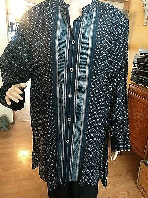 Plus Size 2X Diane Gilman 100% Silk Long Tunic Blouse New with Tags