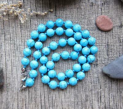 Hot pray cuff Handmade 10MM Natural Turquoises blue 108 Beads Tassels Necklace