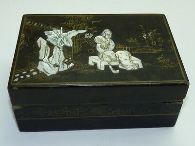 """Antique Japanese Wood & Lacquer Box, Mother-of-Pearl and Gold Ornamented 6"""" x 4"""""""
