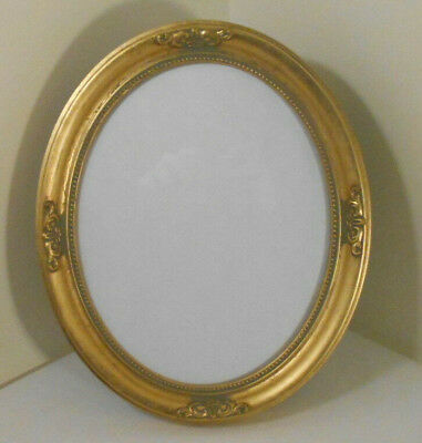 """Gold gilt Oval Wood Picture Frame free stand w easel or hang--w Glass-8"""" x 10"""""""