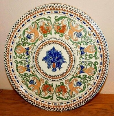 A RARE AND EARLY ANTIQUE SWISS MAJOLICA THOUNE POTTERY CHARGER C. 1870's