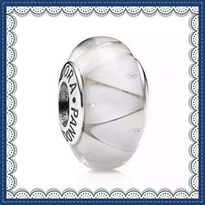 Pandora Murano Glass Charm White Looking Glass Bead Silver S925 ALE 790921 New