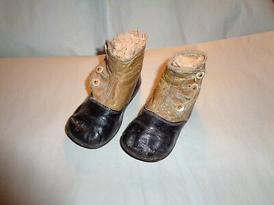 Child's Victorian Shoes Black and Tan