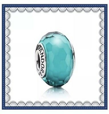 PANDORA  Murano Glass Charm Teal Faceted  bead Silver S925 ALE 791606 New,