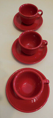 Fiesta Scarlet Red Fiestaware Homer Laughlin China Co Tea Cup and Saucer Set