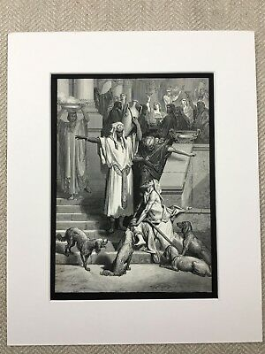 Lazarus Rich Man Gustave Dore Bible Story Book of Luke Genuine Antique Print