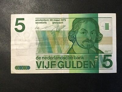 1973 Netherlands Paper Money - 5 Gulden Banknote!