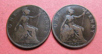 2 x 1902 Edward VII penny coins - 'Low Tide' & 'High Tide' varieties