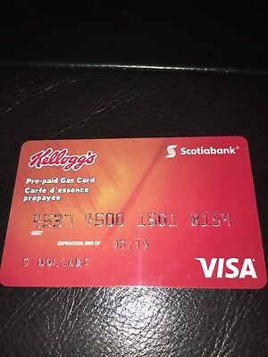Pre-paid Gas Card VISA SCOTIABANK KELLOGG'S. Perfect Condition.