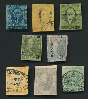 MEXICO STAMPS 1856-1872 HIDALGO LOT INCS VF 1867 4r RED ON YELLOW, ATTRACTIVE