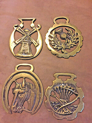BRASS HORSE  HARNESS BRIDLE MEDALLIONs (4) .WINDMILL. HORSE, PINEAPPLE , WHEAT?