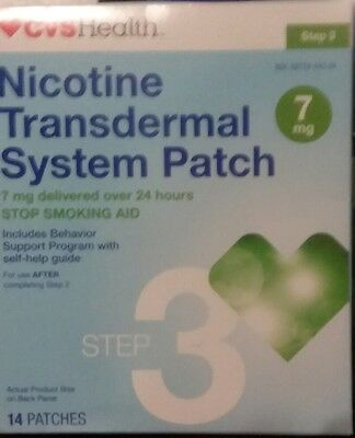 CVS Nicotine Transdermal patches 7mg STEP 3, 14 patches Exp 12/2018