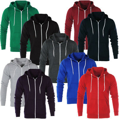 Mens Zip Up Plain Hooded Sweatshirt Hoodie Fleece Hoody Jumper Top
