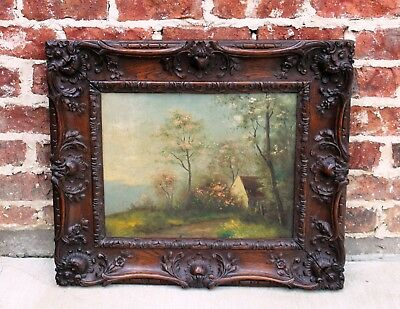 Antique French Oak Hand Carved Frame Pastoral Oil on Board Painting Mirror 19thC