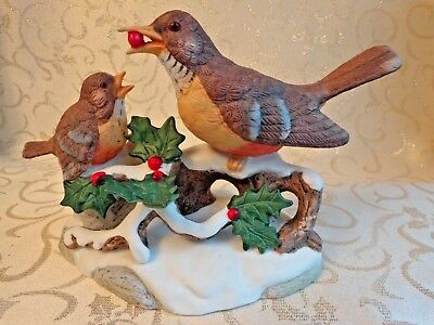 Porcelain Bird Figurine - Mother Feeding Baby - Holly Berries  Snow  Winter