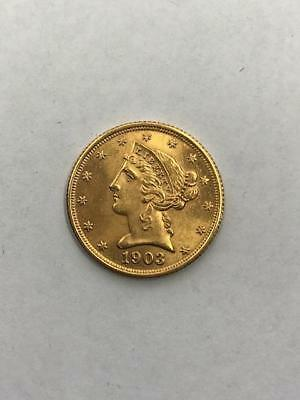1903-S $5 Liberty Gold Coin.!! Uncertified.. NR.!!