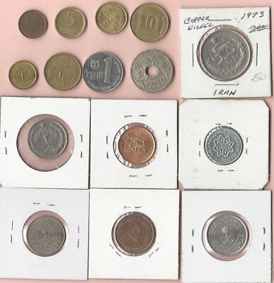 Middle East. Vintage Lot Of 15 Assorted Coins. Egypt, Israel Etc See Pics