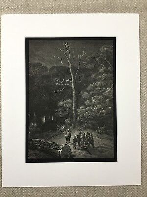 The Fairy Realm Dark Woodland Scary Woods Gustave Dore Genuine Antique Print