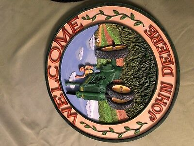 Vintage John Deere Chalkware Welcome Plaque