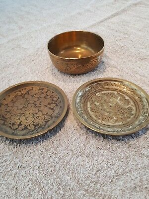 Brass Bowl And Plates