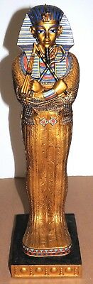 Large Egyptian King Tut Coffin Statue, Beautifully Decorated Painted
