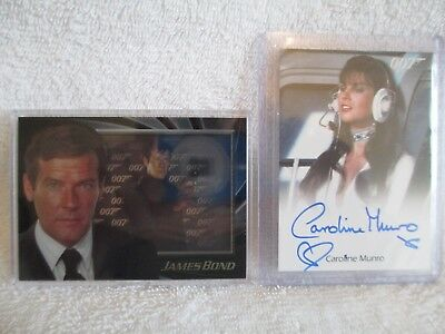 James Bond autograph card of Caroline Munroe, Shadow Box Roger Moore, + extra
