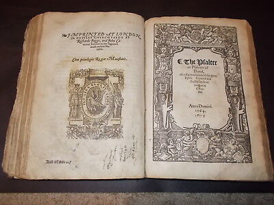 RARE!-1564-Book of  Common Prayer-Folio-/Psalms of David-1565-Original Leather!!