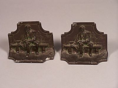Antique ABE LINCOLN Seated Capitol Bench Book Ends Spelter Slush Cast Bookends