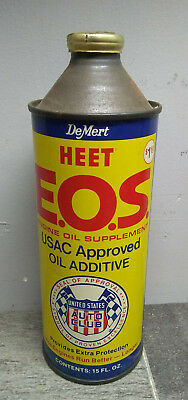 Vintage HEET EOS USAC United States Auto Club Metal Cone Top Can gas engine oil