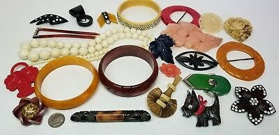 Vintage Art Deco Early Celluloid & Bakelite Jewelry Lot Bracelets Brooch Buckles