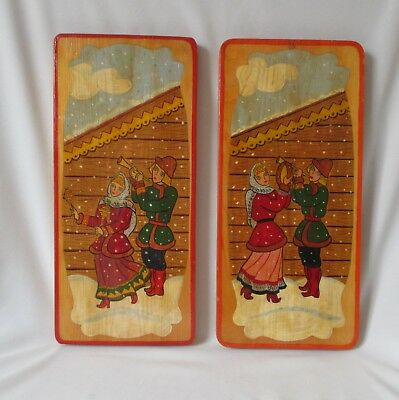 2 Unique Vintage Russian Folk Art Hand Painted Wooden Plaques ~Musicians in Snow