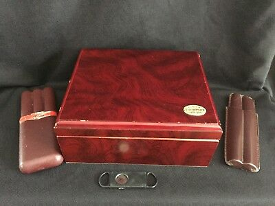 1915 THOMPSON & CO CHERRY WOOD CIGAR HUMIDOR W/CUTTER and ACCESSORIES