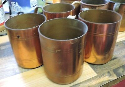 4 OLD SOLID COPPER MUG/s CUP  W/HANDLES AMERICAN METALCRAFT CHICAGO