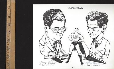 JERRY SIEGEL + JOE SHUSTER (SUPERMAN Creators)-SIGNED PHOTO WITH SUPERMAN
