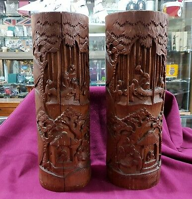 Antique Japanese Hand Carved Bamboo Brush Holders Pair
