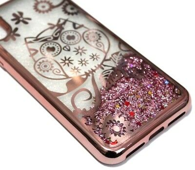 "For iPhone XR (6.1"") - Rose Gold Owl Flower Pink Glitter Stars Liquid Case Cover"