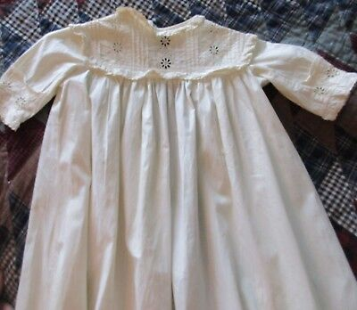 Antique Infant Cotton Eyelet & Pleated Gown Christening Gown Dress
