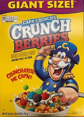 New Quaker Giant Size Cap'n Crunch's Crunch Berries Cereal 26 Oz Box Sweetened