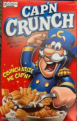 New Quaker Cap'n Crunch Cereal 20 Oz Box Sweetened Corn & Oat Crunch-A-Tize Me