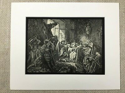 The Fairy Realm Derelict Old Castle Hall Gustave Dore Genuine Antique Print