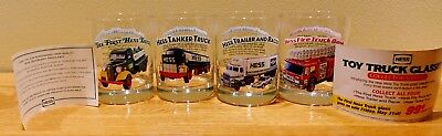1996 Hess Toy Truck Collector's Glasses Complete Set of 4 & Papers - Never Used
