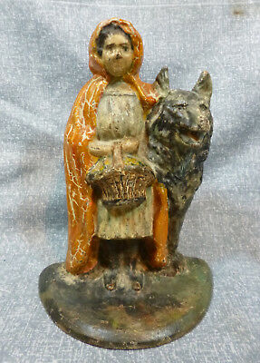 """Antique Albany Foundry #94 """"Red Riding Hood with Wolf"""" Cast Iron Doorstop"""