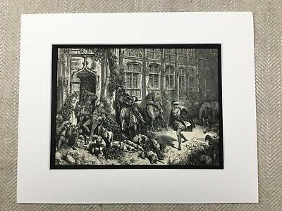 The Fairy Realm Sleeping Spell Castle Gustave Dore Genuine Antique Print