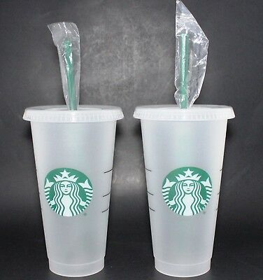 STARBUCKS Reusable Frosted Plastic VENTI Cold Cup With Reusable Green Straw 24oz