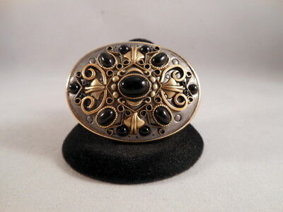 Signed MICHAL GOLAN Gold/Silver Tone Black Stone Byzantine Style Brooch/Pendant