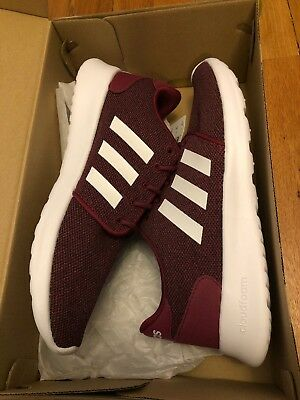 New Womens Adidas CF QT Racer Sneakers Maroon/White Size 8M