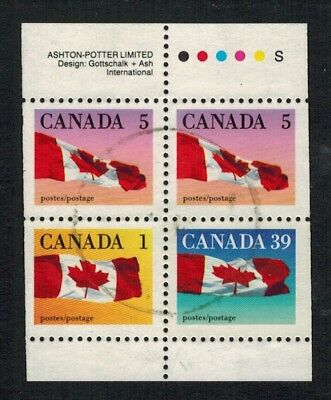 Canada #1189c, 1990 39¢ Flag Booklet, scarce perf, Used VF