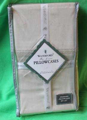 "New 1 Pair Waterford Linens Conlan Standard PillowCases 330 Thread Count 20""x32"""