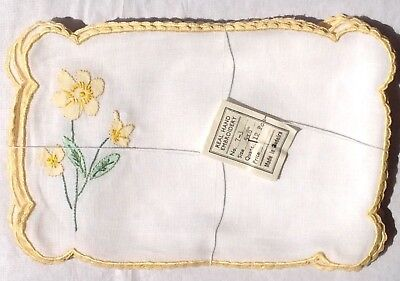 Yellow Floral Vintage Madeira Embroidered Linen Cocktail Napkins Set of 6 Unused
