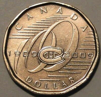 Canada 1909-2009 $1 dollar Montreal Canadiens loonie coin nice circulated